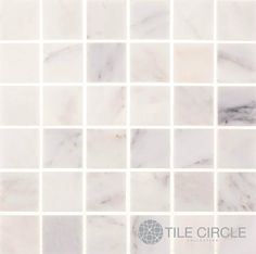 """Aspen White Marble 2"""" x 2"""" Square Tile for kitchen backsplashes, bathroom floor tile and wall tile.  Available in polished and honed finishes."""