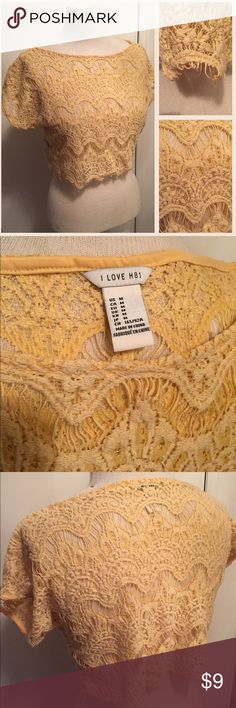 Lacy Crop Top Cute sheer, lacy crop top. Light yellow. From the discontinued Heritage 1981 line at Forever 21. Heritage 1981 Tops Crop Tops