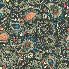 Vector paisley pattern set 04