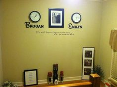 """A wonderful addition to our home decor! Clocks are stopped on time of birth of our kids with names under clock, and one of our wedding photos displayed in between! """"We will have these moments to remember"""" wall vinyl from Michael's! LOVE!"""