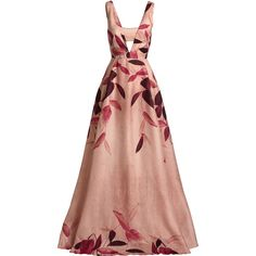 Lela Rose Sleeveless Leaf-Print Gazaar Gown ($3,746) ❤ liked on Polyvore featuring dresses, gowns, vestidos, cutout dresses, red cut-out dresses, sleeveless dress, silk gown and silk evening gowns