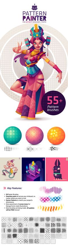Pattern Painter is a raster brush pack made out of custom patterns and designed for being used with Affinity Designer or Affinity Photo