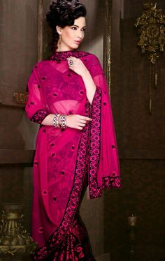 Picture of Premium Black and Fuchsia Color Indian Party Wear Saree Online
