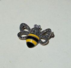 Vintage Enamel Bee Brooch Sterling Silver by OldTreazureTrunk, $28.00
