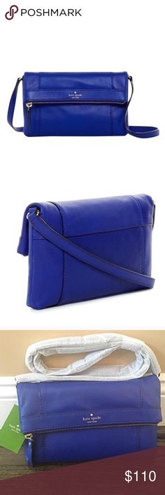 """✨NWT✨ Kate Spade Blue Leather Crossbody Bag NWT! Authentic Kate Spade crossbody bag in royal blue leather. Fold over flap with magnetic closure. Gold hardware. Interior zip pocket. 10""""X1""""x6"""". Crossbody strap has a 22 inch drop. ***NO TRADES*** kate spade Bags Crossbody Bags"""