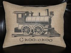 Vintage Train Choo-choo Burlap Decorative Pillow locomotive