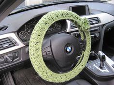 Crochet Steering Wheel Cover Wheel Cozy with a Flower  - tea leaf