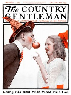 "In 1919, the cover of The Country Gentleman featured a young man bobbing for apples as a ploy to impress a young lady. In fact, the game of bobbing for apples has a long association with marriage and fertility. One lost Halloween tradition involved women secretly marking the apples before throwing them in the tub for men to ""bob"" for; future matches were foretold depending on the apple each lad chose."
