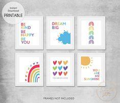 Rainbow Quotes Printable Print Set of 6 - Wall Art Printable Prints Rainbow Nursery Decor, Rainbow Room, Rainbow Wall, Rainbow Print, Nursery Prints, Nursery Wall Art, Rainbow Quote, Quote Prints, Art Prints