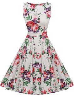 Kostlich Floral Print Summer Dress for Women Sleeveless Tunic Vintage Dress Belt Elegant Rockabilly Party Dresses Sundress Elegant Party Dresses, Vintage Party Dresses, Dress Vintage, Retro Dress, Day Dresses, Plus Size Dresses, Dresses For Sale, Dresses Online, Ladies Dresses