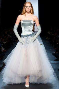 Jean Paul Gaultier, Look #55. Tulle with denim waist. gloves
