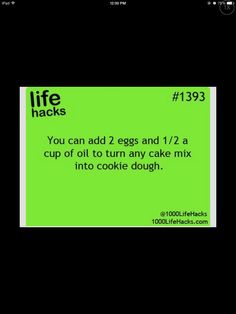 LIFE HACKS!!!!  Turn Any Cake Mix Into Cookie Dough.