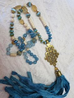 Teal Colored Stone Nugget Boho Trendy Handmade Long Sweater Stone Necklace Silver Metal Tassels /& Teal Orange Glass Beads