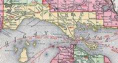Mackinac County, Michigan, 1911, Map, Rand McNally, Saint Ignace, Mackinac Island, Cedarville, Moran, Pointe Aux Pins, Hessel, Rexton, Naubinway, Engadine, Gould City, Curtis, Brevort, Rapinville