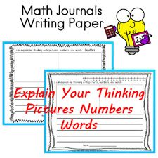 Math Journals Writing Paper Pictures Numbers Words | TpT