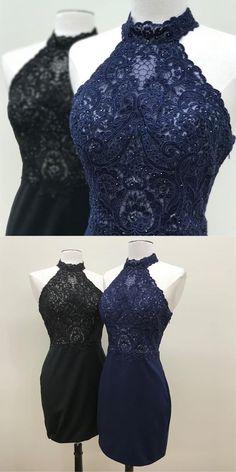 halter tight homecoming dress, 2017 short homecoming dress, navy blue short homecoming dress, short black homecoming dress
