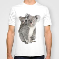 """""""Koala bear and her baby"""" Men's Fitted T-shirt Licensed by SOCIETY6 (Design by LIFE ON WHITE) 