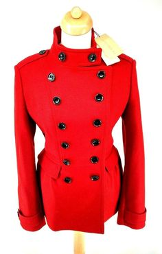 0a60bd9599729 BNWT Burberry Military Pea Trench Coat Red Peplum IT 46 UK 14 V Wool  Cashmere #fashion #clothing #shoes #accessories #womensclothing  #coatsjacketsvests ...