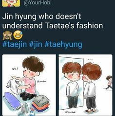 © to original owner but this is so cute, Jin sew back the cuts lol