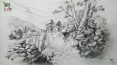 Giclee Print: The Heath, Looking Very Rural Art Print : Landscape Pencil Drawings, Landscape Sketch, Pencil Shading, Pencil Art, Drawing Artist, Painting & Drawing, Drawing Step, Waterfall Drawing, Art Sketches