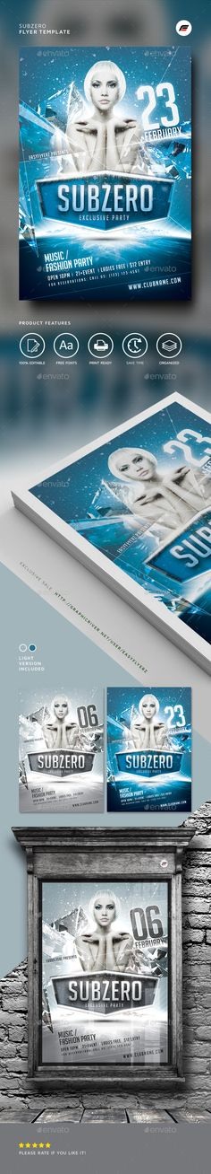 Subzero Winter Flyer Template — Photoshop PSD #ice #night club • Download ➝ https://graphicriver.net/item/subzero-winter-flyer-template/19292778?ref=pxcr
