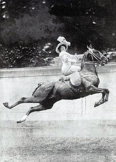 Feisty Edwardian woman riding show horse