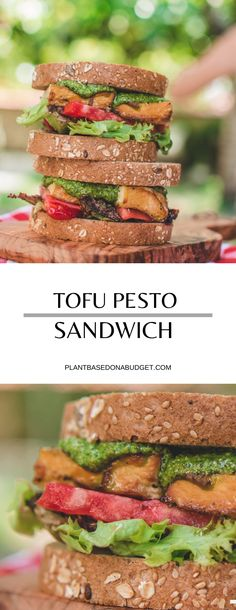 This tofu and pesto sandwich is the perfect weekeday lunch! It only takes a few minutes and it's full of plant-based protein! Vegan Sandwich Recipes, Pesto Sandwich, Tofu Recipes, Delicious Vegan Recipes, Vegetarian Recipes, Vegan Sandwiches, Picnic Recipes, Wrap Recipes, Dinner Recipes