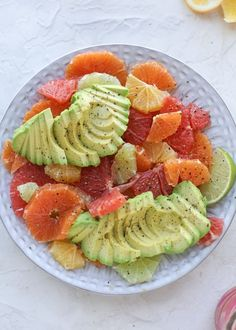 A deliciously fresh and invigorating avocado citrus salad with honey lime vinaigrette. It's creamy, tart, sweet and refreshing! Healthy Recipes, Raw Food Recipes, Salad Recipes, Healthy Snacks, Vegetarian Recipes, Healthy Eating, Cooking Recipes, Nutritious Meals, Vegan Vegetarian
