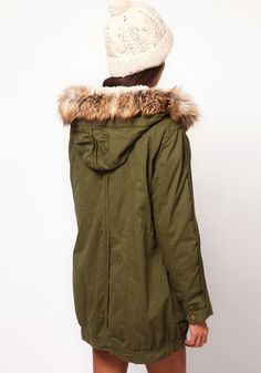 Army Green Rivet Hooded Cotton Blend Parka Coat - Outerwears - Tops
