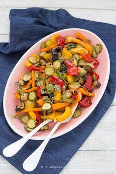 Ricetta verdure miste al forno, un contorno leggero ed ottimo per preparare 100 piatti diversi. Roasted vegetables - Baked vegetables - Chiarapassion