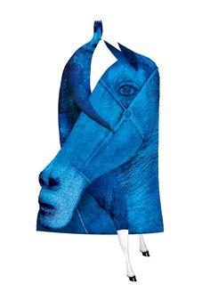 Ediciones El Jinete Azul     (Saludo gráfico a un nuevo sello)   Ave azul.  Noche.  Piélago alado.  Jinete.  Sileno rey. Luna por la mita...