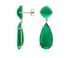 Green Agate Drop Earrings