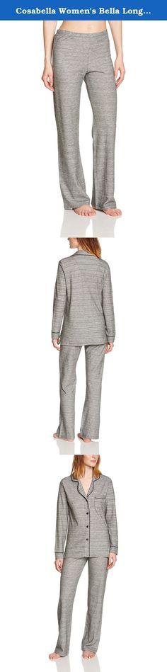 Cosabella Women's Bella Longsleeve Pajama Set, Heather Gray/Black, Small. Classic interpretation of classic men's styles.