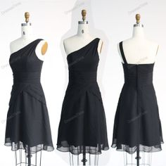 Short bridesmaid dress  black evening dress / by dressestime, $84.99
