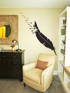 Giant Feather Flock Wall Decals This artistic flock of birds soaring from the feather will add a fabulous touch to any wall! Choose between left and right facing! Need a smaller size? We also offer smaller sizes Wall Tattoo, Beautiful Wall, Wall Decals, Wall Art, Apartment Living, My Room, Feather, House Design, Interior Design