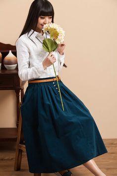 Velours coton jupe longue Maxi  bleu  femmes par deboy2000 sur Etsy, $68.99