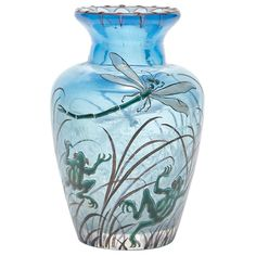 Galle Enameled Glass Cabinet Vase Circa 1900 Of urn form, in translucent blue colored glass, decorated with frogs and dragonflies, signed Galle. Height 4 inches.