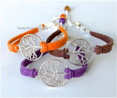 Pick Color / Size Silver TREE of Life Bracelet Faux Suede