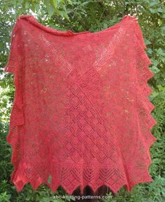 ABC Knitting Patterns - Victorian Enchantment Shawl. Worked with 2 strands of yarn from the center out with a knitted-on border.