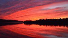Fiery sunset at Beltzville State Park in Lehighton, PA.
