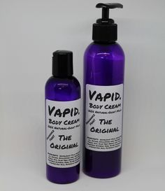 Vapid Lacquer Body Cream: 100% natural and absolutely swoon worthy!Super thick and very creamy, this product lies somewhere between a lotion and a body butter. Not hard like a butter, but nowhere near as runny as a lotion. Simple ingredients and so wonderful for your skin! Gentle yet super moisturizing! This product will hold for 2 years! A little bit goes a very long way. Not intended for use on face. This is a heavy moisturizer.