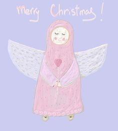 Picture: Angel  #illustration #christmas #angel #children #pics #postcard #art daaashiky@gmail.com