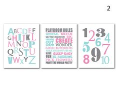 Word Art Print - Playroom Rules ABC 123 - This trio makes a great addition to a family room or play room.    Select from combinations shown