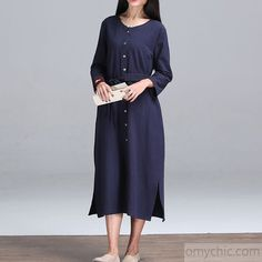 Long sleeves linen dress-Navy plus size linen sundress cottong long maxi dresses linen clothing