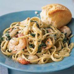 Shrimp Florentine with Caramelized Garlic Recipe | MyRecipes.com