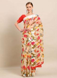 Cream Cotton Party Casual Saree Salwar Kameez, Kurti, Celebrity Gowns, Casual Saree, Latest Sarees, Traditional Sarees, Fabric Shop, Floral Prints, Indian