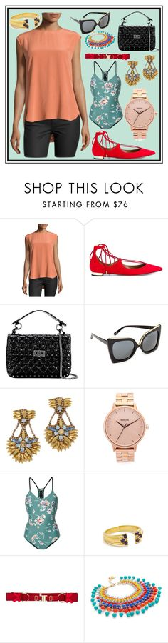 """Cool Party"" by cate-jennifer ❤ liked on Polyvore featuring Haute Hippie, Aquazzura, Valentino, N°21, Deepa Gurnani, Nixon, The Upside, Pamela Love, Bordelle and Rosantica"