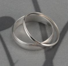 Through Thick and Thin Wedding Set--Solid Sterling Silver Half Round Wedding Band Set Custom made in YOUR sizes. $35.00, via Etsy.