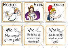 Teacher's Pet - Greek Gods Matching Activity - Premium Printable Classroom Activities and Games - EYFS, KS1, KS2, zeus, mount, Olympus, anci...