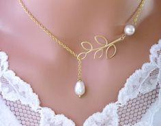 Pearl Necklace Gold Lariat Wedding Jewelry Bridesmaid Gift Branch Drop   Vivian-Feiler-Designs - Jewelry on ArtFire